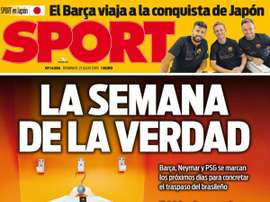 Capa do jornal Sport de 21-07-19. Sport