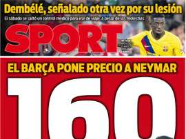Capa do jornal Sport de 21-08-19. Sport