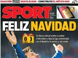 A capa do jornal 'Sport' de 24/12/2017. SPORT