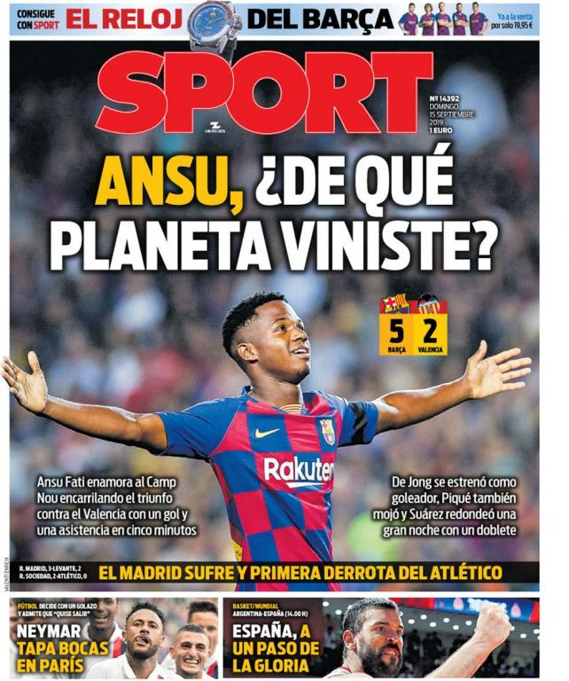Capa do jornal Sport 15/09/2019. Sport