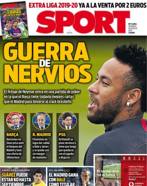 Capa do jornal Sport de 18-08-19. Sport