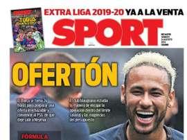 Capa do jornal Sport 24-08-19. Sport