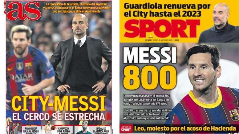 Portadas de la prensa deportiva del 20-11-20. Sport/AS
