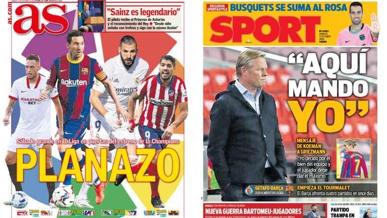 As capas da imprensa esportiva. AS/Sport