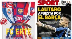 Les Unes des journaux sportifs en Espagne du 28 mars 2020. Montage/AS/Sport