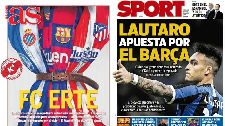 Capas deste sábado dos jornais espanhóis AS e Sport.
