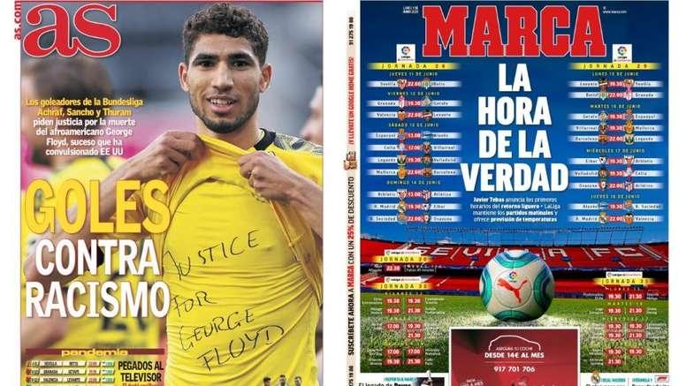 Portadas de la prensa deportiva del 01-06-20. AS/Marca