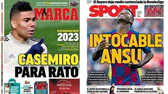 As capas da imprensa esportiva de 27 de maio de 2020. Marca/Sport