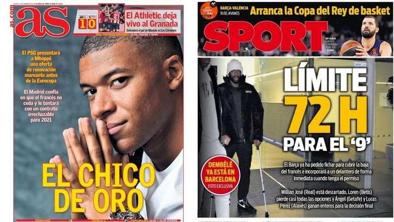 Portadas de AS y Sport del 13-02-2020. AS/Sport