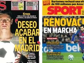 Capas dos jornais espanhóis AS e Sport.