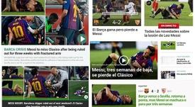 Capas dos jornais sobre a fratura de Messi. Captura