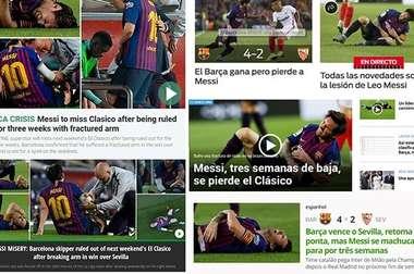 La lesión de Messi fue portada a nivel mundial. Capturas