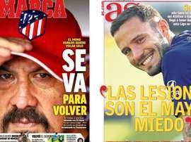 Les Unes des journaux sportifs en Espagne. Marca/AS