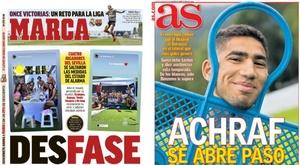 Capas dos jornais espanhóis Marca e AS.