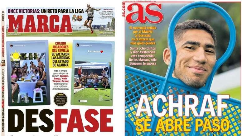 Portadas de la prensa deportiva del 25-05-20. Marca/AS