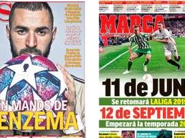 Les Unes des journaux sportifs en Espagne du 30 mai 2020. Marca/AS