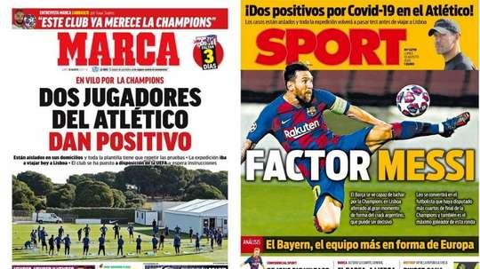 Capas dos jornais Marca e Sport.
