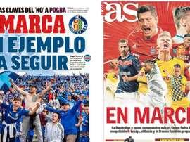 Les Unes des journaux sportifs en Espagne du 08/05/2020. Marca/AS