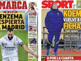 Portadas de la prensa deportiva del 24-01-21. Marca/Sport