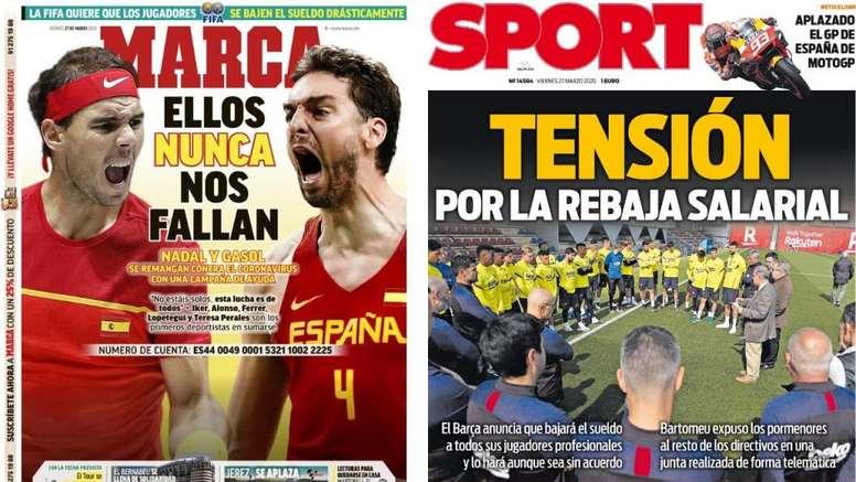 Las portadas de la prensa deportiva de hoy. Montaje/Marca/Sport