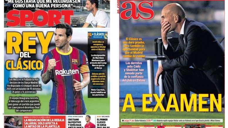 Capas dos jornais espanhóis Sport e AS.