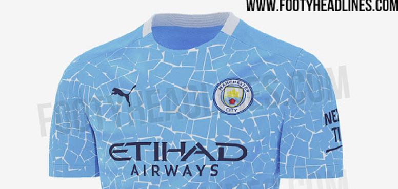 Site revelou a suposta nova camisa do Manchester City para a temporada 2020-21. FootyHeadlines