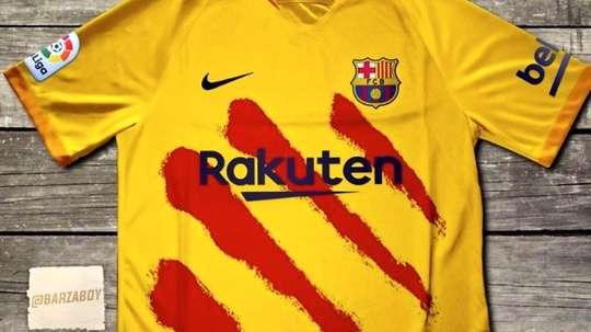 O Barça pode estrear o seu quarto uniforme contra o Atlético. Twitter/Barzaboy