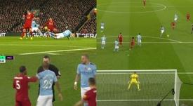 City reclama de pênalti e o Liverpool abre o placar. Capturas/DAZN_ES