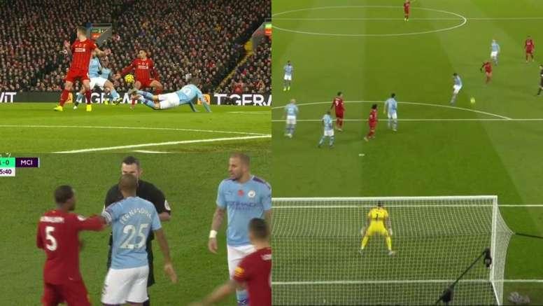 Fabinho scored for Liverpool. Screenshots/DAZN_ES