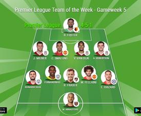 Premier League Team of the Week, Gameweek 5. BeSoccer