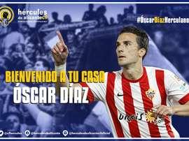 Óscar Díaz ayudará al Hércules a luchar por el ascenso a Segunda División. Twitter
