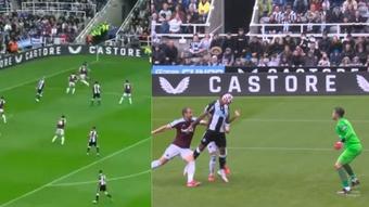 Callum Wilson marcó el primer gol de la temporada para el Newcastle. Captura/DAZN