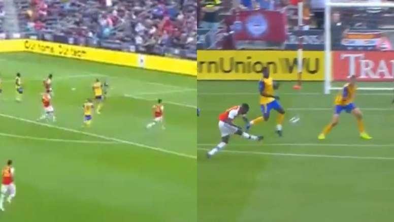Saka y Olayinka, los primeros goleadores del nuevo Arsenal. Captura/SportsTV