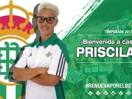 Priscila jugará en el Betis tras siete temporadas en el Atlético. RealBetisFem