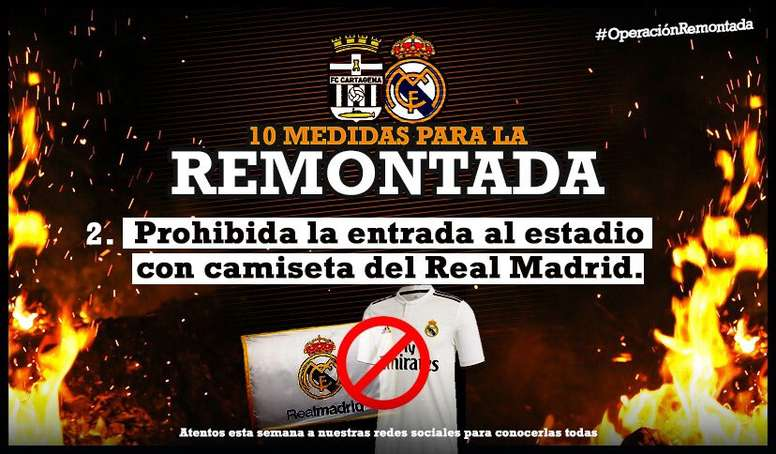 El Cartagena no permitirá la entrada a su estadio con camisetas del Real Madrid. Cartagena