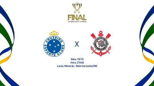 Prováveis escalações da final da Copa do Brasil entre Cruzeiro e Corinthians. Twitter @CBF_Futebol
