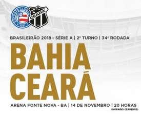 Prováveis escalações de Bahia e Ceará para a 34ª rodada do Brasileirão. Twitter @CearaSC