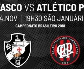 Prováveis escalações de Vasco e Atlético-PR para a 34ª rodada do Brasileirão. Twitter @VascodaGama