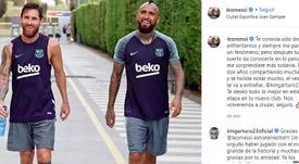 Messi se despidió de Vidal. Instagram/leomessi
