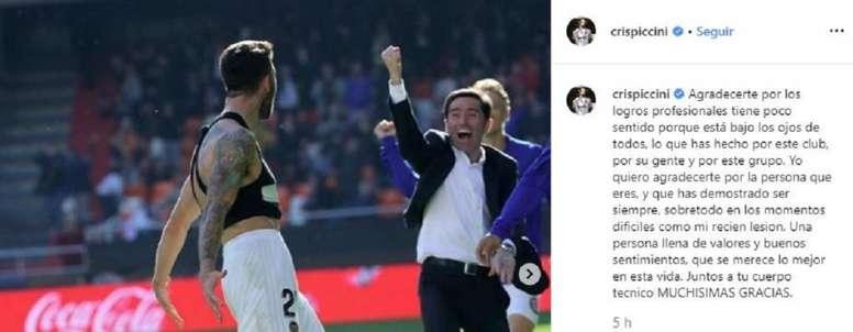 Piccini también se despidió de Marcelino. Instagram/CrisPiccini