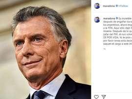 Maradona critica Macri outra vez. Instagram/maradona