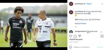 Willian ya ha entrenado y el club no lo oculta. Captura/Instagram/corinthians