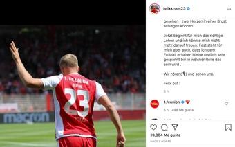 Felix Kroos cuelga las botas. Captura/Instagram/felixkroos23
