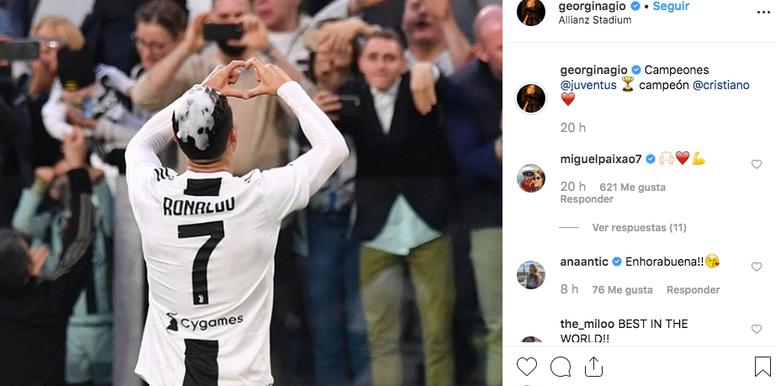 Georgina festeggia l'ultimo successo di Ronaldo. Instagram/Georgina