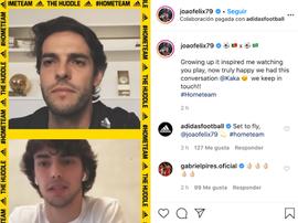 João Félix e Kaká conversam durante live no Instagram. Instagram/@joaofelix79