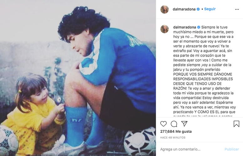 Dalma se despidió de su padre. Captura/Instagram/dalmaradona