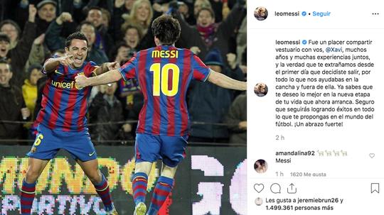Messi also praised Xavi's contribution to the sport. Instagram
