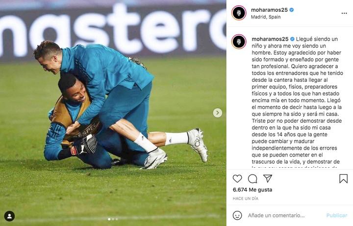 Moha disse adeus ao Real.Captura/Instagram/moharamos25