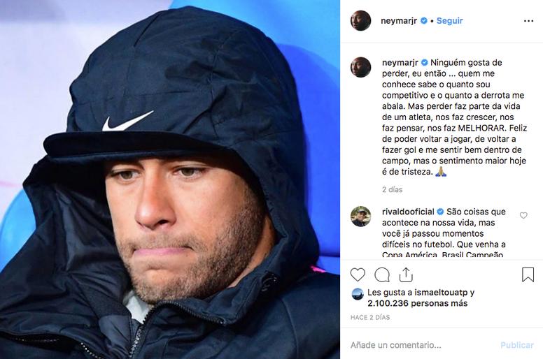 Neymar admitió que a nadie le gusta perder tras su agresión al aficionado del Rennes. Instagram
