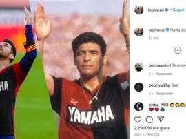 O último adeus de Messi a Maradona. Instagram/leomessi